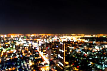 abstract blur Bangkok cityscape at night in Thailand