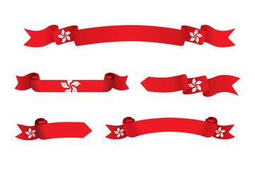 Hong Kong flag ribbon isolated on white background. Vector illustration Fototapete