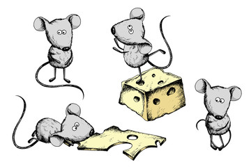 Cute little mouses and cheese sketch in color. Nice positive illustration, clip art, scrapbooking graphic on white background