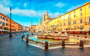 Deurstickers Rome Piazza Navona square in Rome, Italy. Neptune Fountain. Rome architecture and landmark.