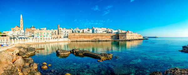 Scenic sight in Monopoli, province of Bari, region of Apulia, southern Italy. City scape harbor walled city Cathedral. Wall mural