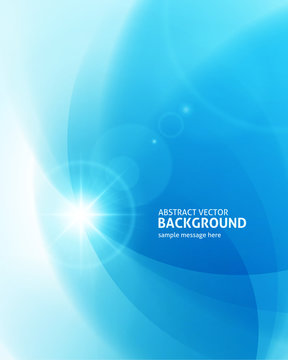 Abstract clean blue light lines with lens flare modern background vector illustration