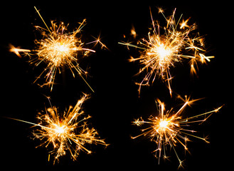 Sparkler burn set isolated on black background with clipping path