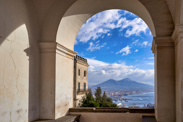 Naples Campania Italy. View of the gulf of Naples