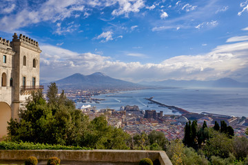 Naples Campania Italy. View of the gulf of Naples and Mount Vesuvius