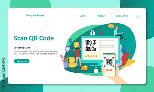 QR Code scanning vector Illustration concept people