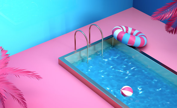 3d render still life composition illustration tropical swimming pool party concepts blue and pink trendy background Colorful beauty abstract theme