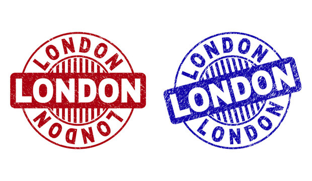 Grunge LONDON round stamp seals isolated on a white background. Round seals with grunge texture in red and blue colors. Vector rubber imprint of LONDON text inside circle form with stripes.