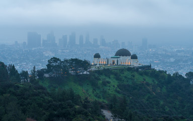 Fotobehang Los Angeles Morning Fog view of Los Angeles, California, USA downtown view from Griffith park