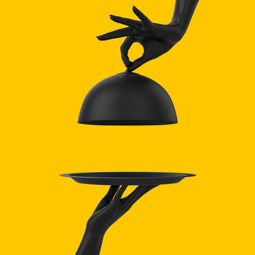 Black Dish with lid holding hands isolated on yellow, opened restaurant cloche, launch time promo banner concept.  3d rendering
