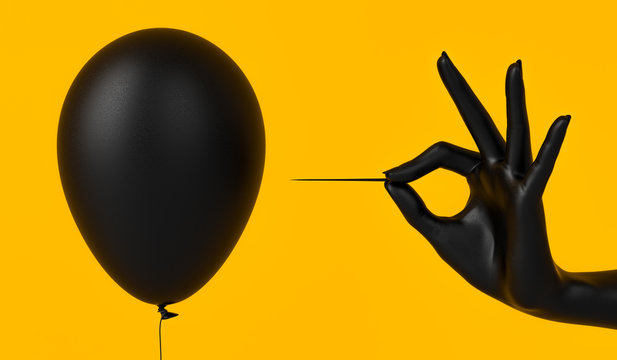 Black color Balloon needle and hand. Finance risk concept. 3d rendering
