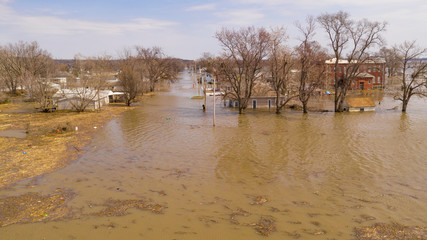 The Town of Pacific Junction Iowa is completely Submerged in the Flood of March 2019