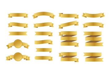 Gold ribbons banners. Set of ribbons. Vector illustration.