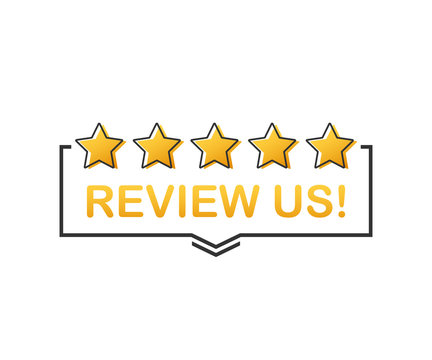 Review us! User rating concept. Review and rate us stars. Business concept. Vector illustration.