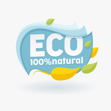 Healthy Organic Food Label with Colorful Leaves