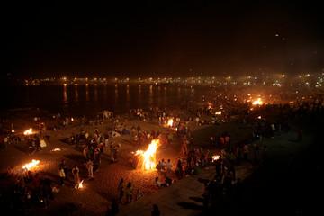 Saint John bonfires in Coruna, Galicia, feast of international Tourist Interest on June 24,2016 in La Coruña ,Spain