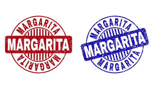 Grunge MARGARITA round stamp seals isolated on a white background. Round seals with distress texture in red and blue colors.