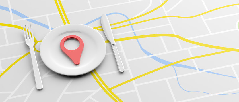Location marker and place setting on map background. 3d illustration