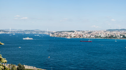 The Bosphorus. The strait that connects the Black Sea to the Sea of Marmara and marks the boundary between the Europe and the Asia