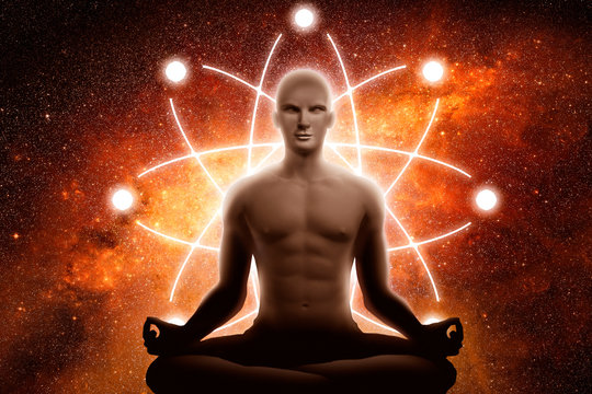 Yoga men with the sign of the atom