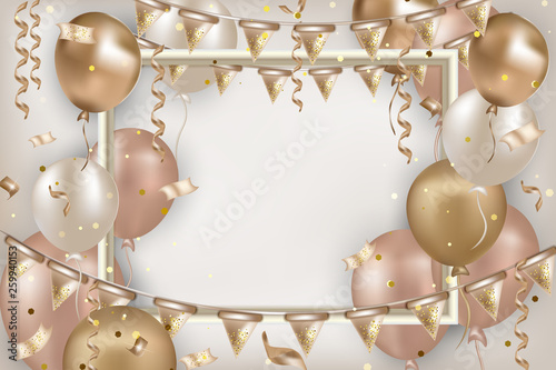 Cantik Pink And Gold Happy Birthday Banner Erlie Decor