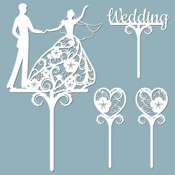 Wedding cake topper for laser or milling cut. Vector graphics. Patterns for cutting. Dance, flowers, dress.