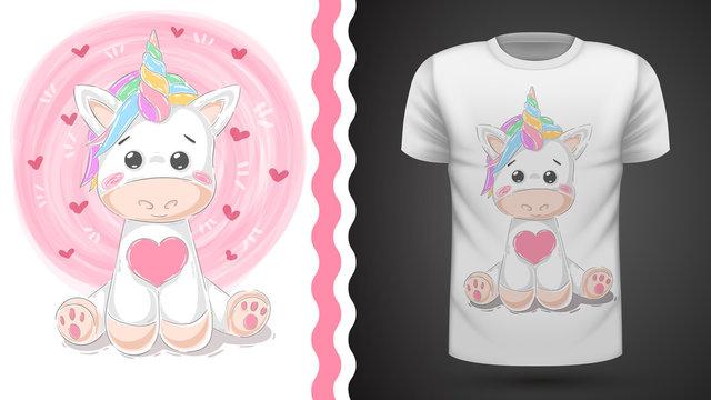 Cute unicorn - idea for print t-shirt