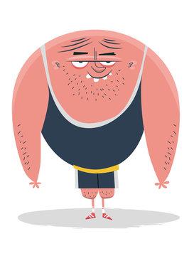 Bodybuilder Cartoon Illustration - Fitnesscenter Workout Guy