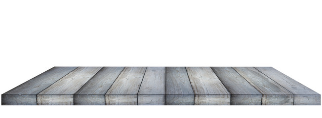 Grey wooden Table or Shelf isolated on White Background high resolution Picture