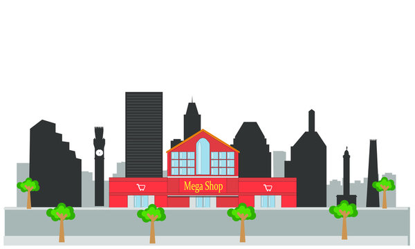 vector of shopping center in skyline city of baltimore in united states