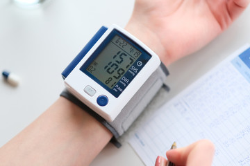 Hypertension. Patient measuring blood pressure.