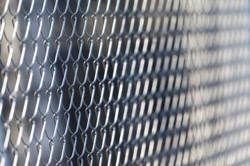 Closeup of metal grid fence