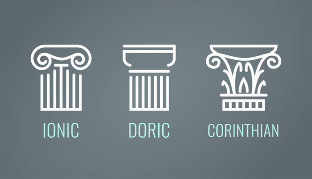 Ionic, Doric and Corinthian icons in lineart style on dark background. Vector set of Greek columns in EPS10.