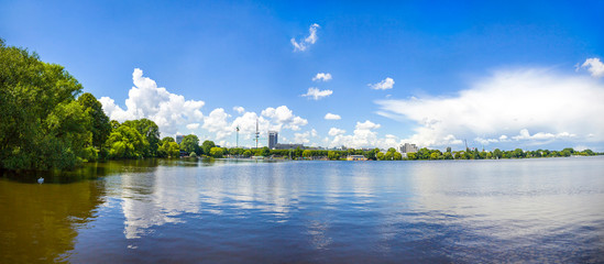 Waterfront of the Aussenalster Lake in Hamburg city, Germany. Panoramic summer view. TV Heinrich-Herz Tower on the background