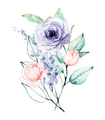 Photo sur Toile Bestsellers Watercolor flower bouquet. Floral clip art. Perfectly for print on wedding invitation, greeting card, wall art, stickers and other. Isolated on white background. Hand paint design.