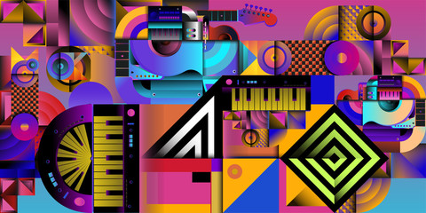 Vector illustration music instrument and colorful art background