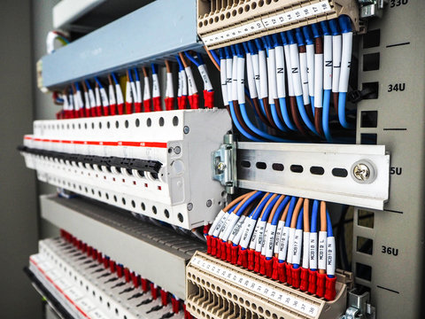 Wiring of control cable in control panel of DCS systems.