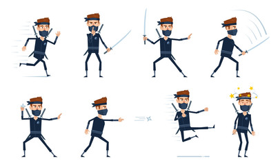 Set of ninja characters showing different actions. Cheerful ninja running, showing keep quiet sign, attacking, moving, jumping, kicking, throwing star. Simple style vector illustration