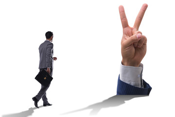 Hands showing victory sign in business concept