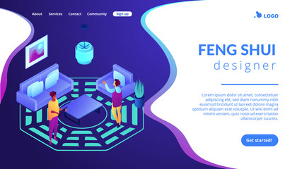 Feng shui consultant rearranges space for positive energy flow, tiny people. Feng shui interior, feng shui designer, home decor philosophy concept. Isometric 3D website app landing web page template Wall mural