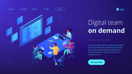 Tiny people software developers team working together coding. Software development team, best working group, digital team on demand concept. Isometric 3D website app landing web page template