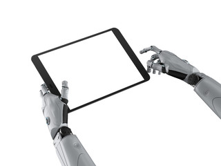 cyborg hand with blank screen tablet