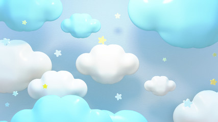Kawaii blue clouds and stars. 3d rendering picture.