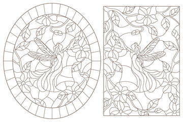 A set of contour illustrations of stained glass Windows with fairies on a background of colors , dark contours on a white background