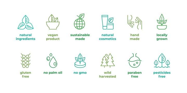 Eco line badge. Handmade eco logos, natural organic cosmetics vegan food symbols, Vector linear gluten free, no gmo emblems