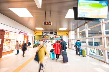 Fotobehang Apotheek Blurred passenger people walking in Osaka railway station