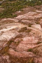 Aerial view of landscape around Queenstown Tasmania
