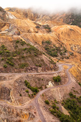 Aerial view of sections of open cut mining pit