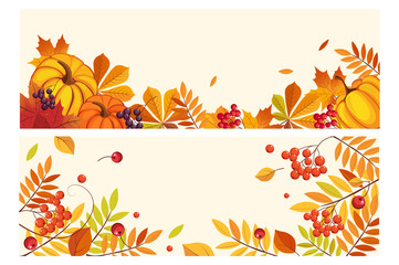 Thanksgiving background with space for text, horizontal banners with orange pumpkins, leaves of maple and rowan vector Illustration Wall mural