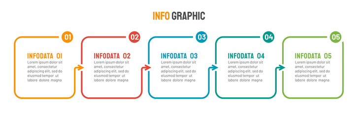 Thin line flat process . Business infographic with 5 options, arrows. Vector linear elements for presentation.